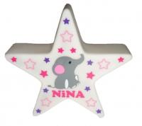 LED Stern Nachtlicht 12 cm mit Elefant und Sternen