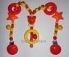 Kinderwagenkette aus Holz und Silikon mit Teddy, Sternen und Ringe